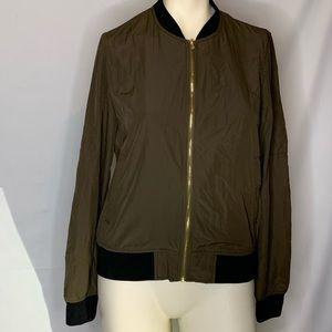 Olive green light weight zip up Zara jacket